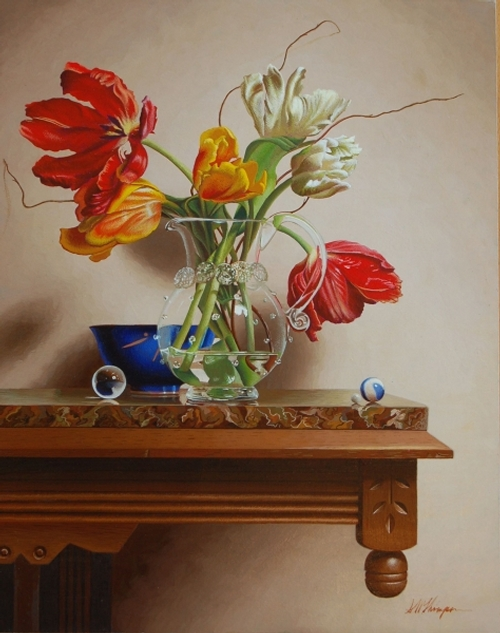 06-Parrot-Tulips-with-Hand-Blown-Glass-Mark-Thompson-Photo-Realistic-Still-Life-Paintings-www-designstack-co