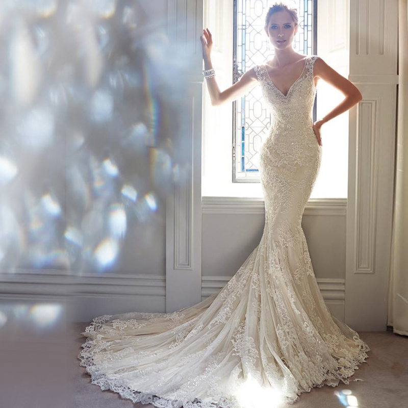 train wedding dress long Mermaid with