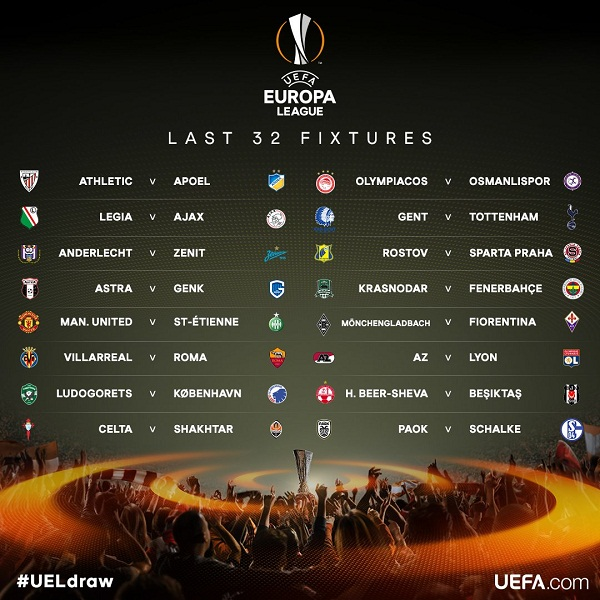 Hasil Drawing 32 Besar Liga Europa: Manchester United vs St-Etienne