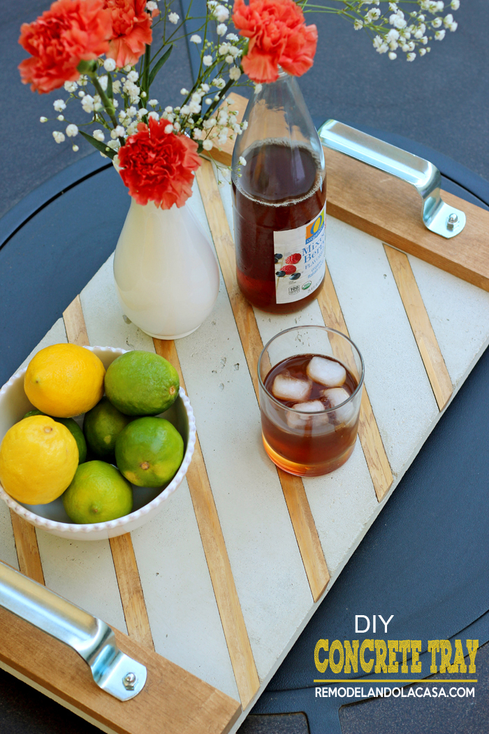 how to make a concrete tray with added wood - drinks and limes and lemons on tray