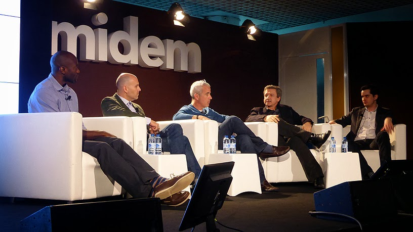 Midem 2014 : Ime Archibong (Facebook), Scott Cohen (The Orchard), Ken Hertz (memBrain llc),  Christophe Waignier (Sacem), Gregory Mead (Musicmetric) / photo S. Mazars