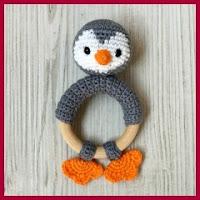 Mordedor pinguino a crochet