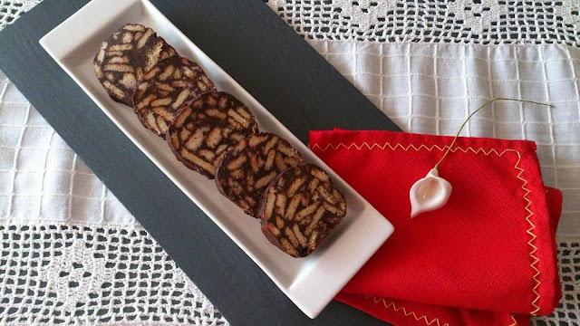 mosaiko salami salchichon chocolate galletas frutos secos receta griega maria zannia cuca sin horno navidad