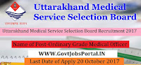 Uttarakhand Medical Service Selection Board Recruitment 2017– 712 Ordinary Grade Medical Officer