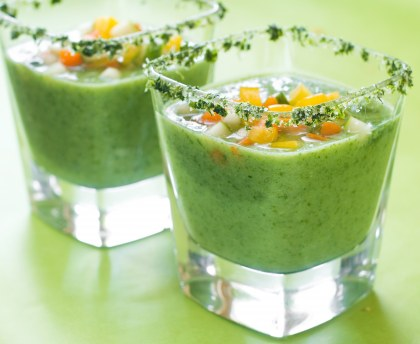 Light cucumber, apple and avocado gazpacho