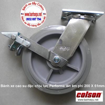 Bánh xe cao su có khóa chịu lực 304kg Colson phi 200 | 4-8199-459BRK1 www.banhxeday.xyz