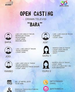 info open casting mencari pemain drama televisi berjudul bara