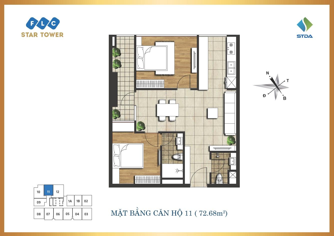 Thiết kế căn hộ 72m2 - Chung cư FLC Star Tower