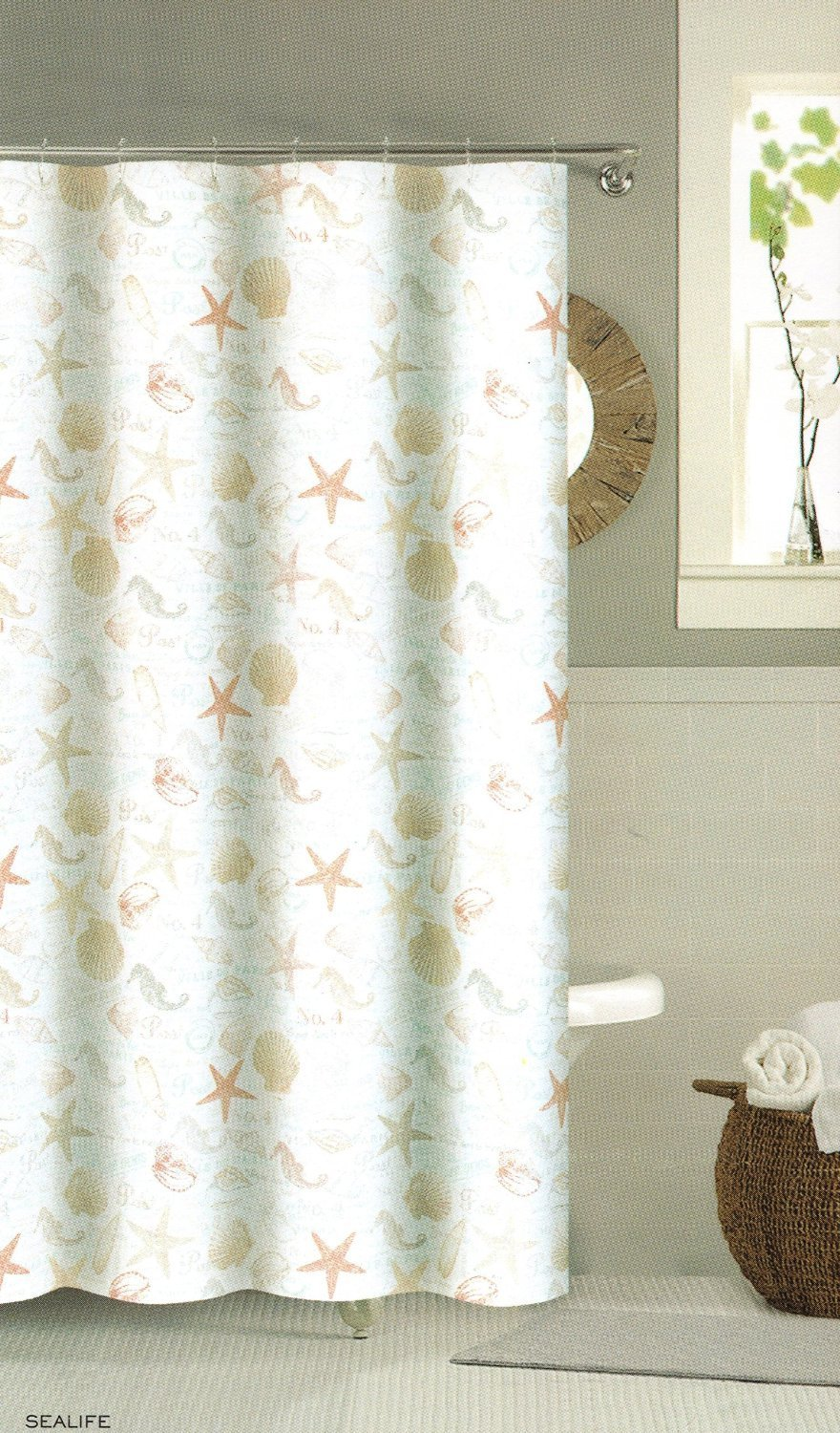 Vintage shower curtains - Fabric French Script Writing Shower Curtain With Seashells