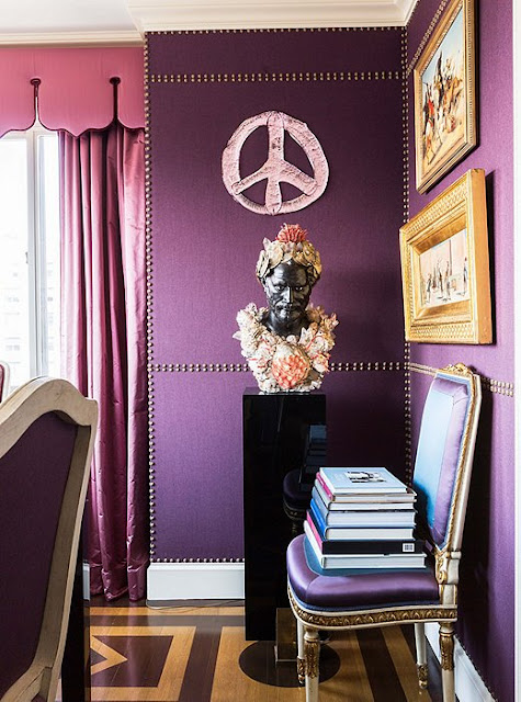 Dining Room: Shades of purple and pink | Alex Papachristidis's Manhattan apartment