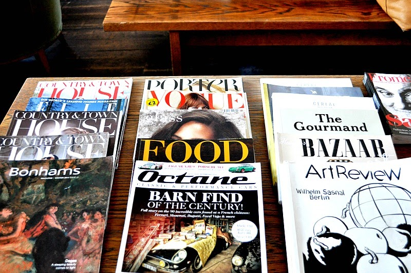 Magazine selection at breakfast