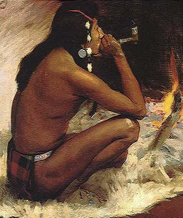 Depiction of American Indian smoking a pipe