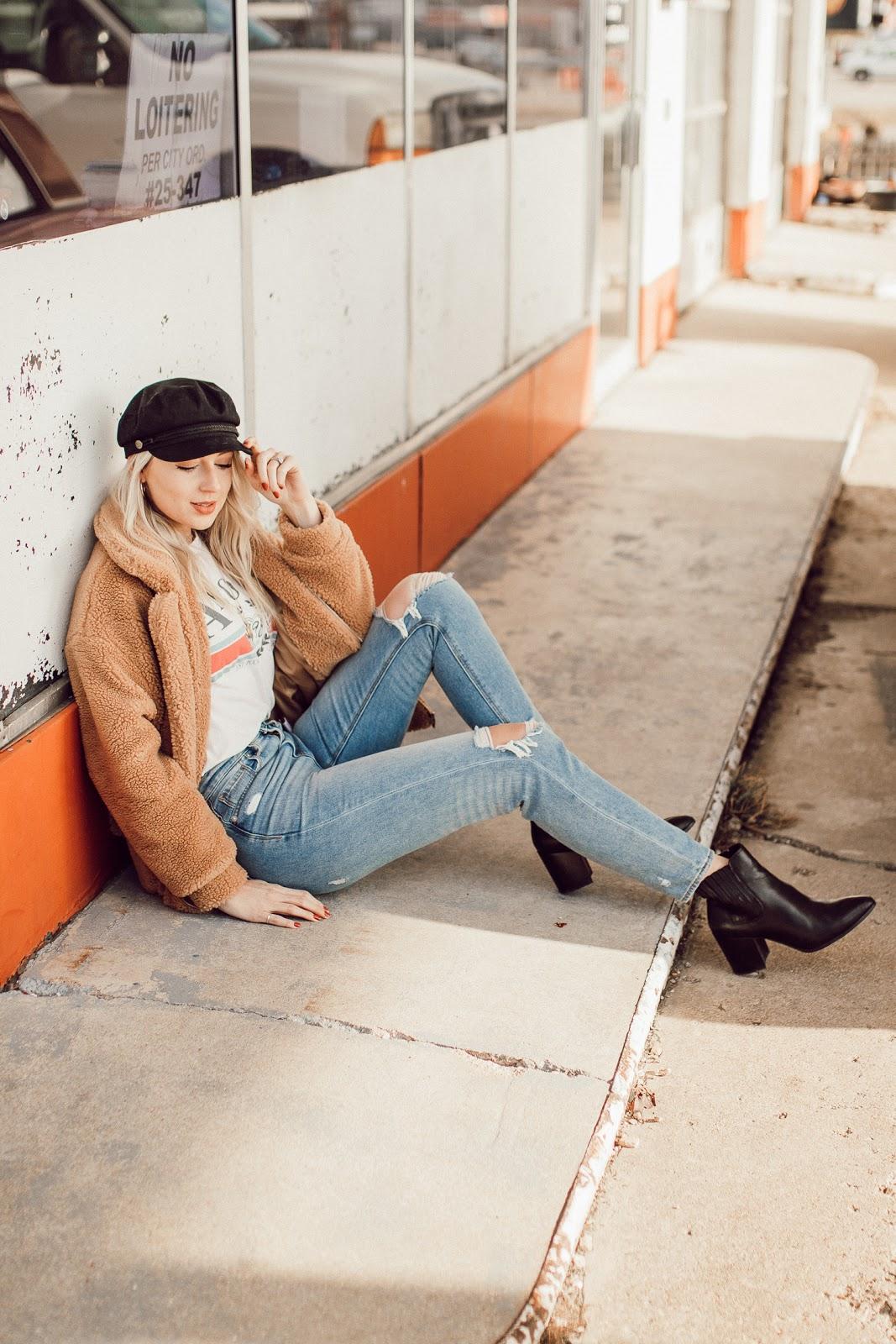 teddy coat, mom jeans