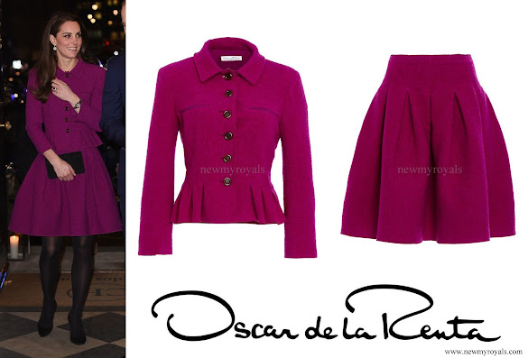 Kate Middleton wore Oscar de la Renta Skirt Suit from Fall 2015 Collection.
