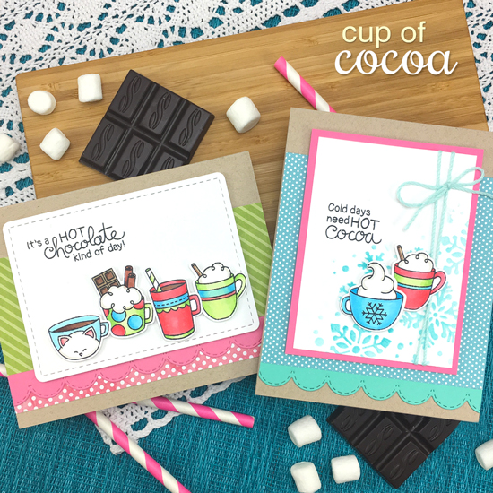 Hot Chocolate Cards by Jennifer Jackson | Cup of Cocoa Stamp Set by Newton's Nook Designs #newtonsnook #handmade