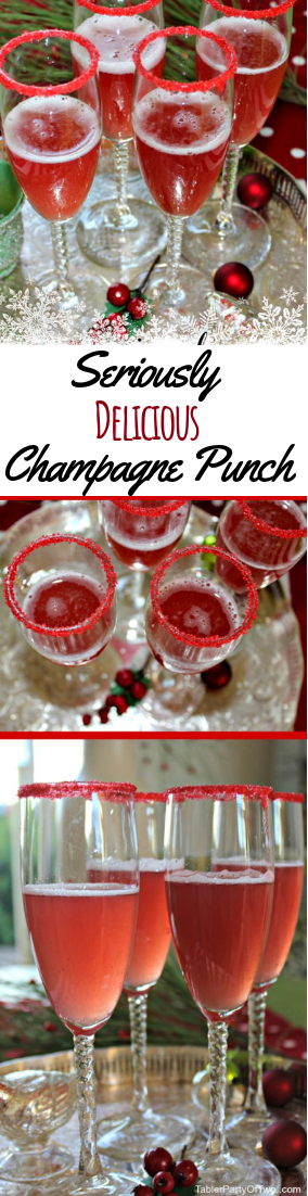 Seriously Delicious Champagne Punch #Holidaydrink #cocktail