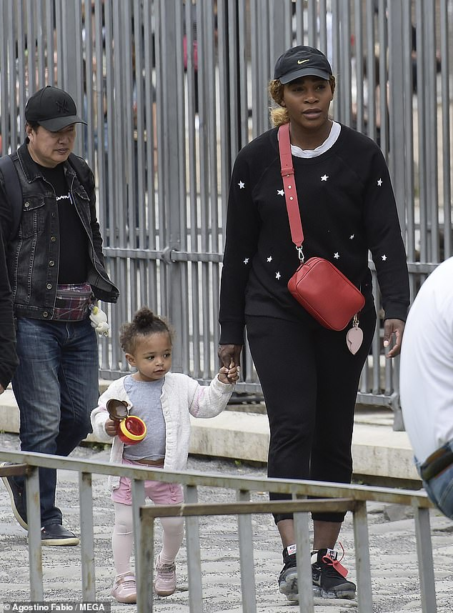 Serena Williams enjoys a stroll with daughter Olympia in Rome ahead of the Italian Open
