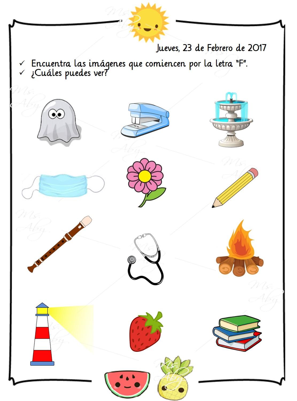 objetos que empiecen con la letra f tareas de pre kinder