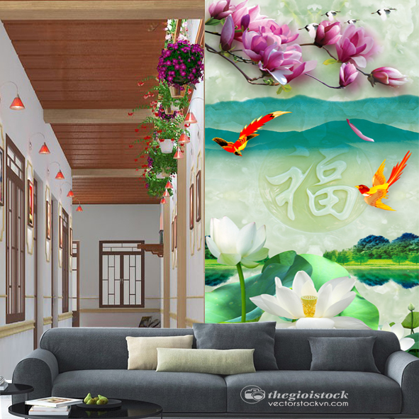 Tranh Hồ sen phong cảnh