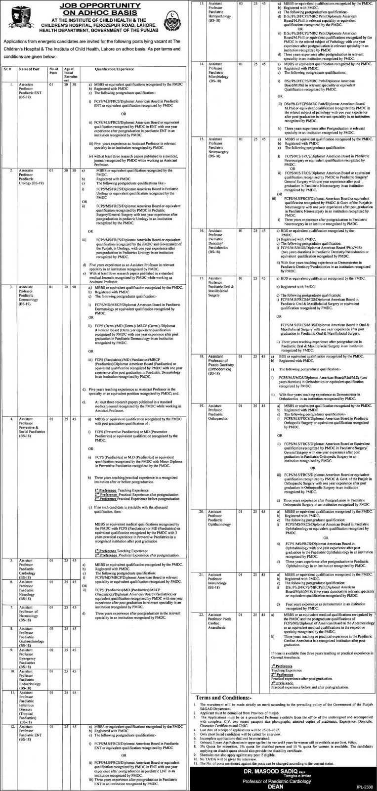 Children's Hospital Jobs Institute of Child Health Lahore 7 March 2017