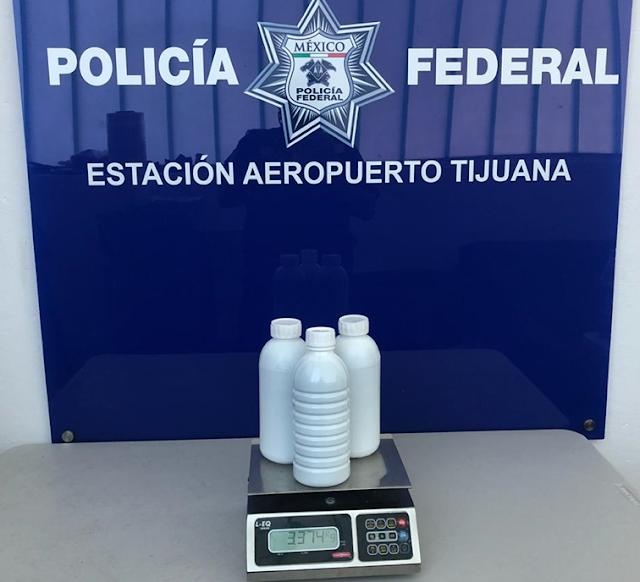 EN BAJA CALIFORNIA, POLICÍA FEDERAL LOCALIZA CERCA DE TRES KILOS DE METANFETAMINA LÍQUIDA