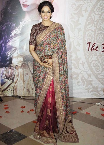 Sridevi Kapoor in Sabyasachi Floral Half and Half Saree