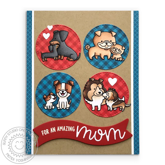 Sunny Studio Stamps: Puppy Parents Red, White & Blue Mother's Day dog themed card (using Loopy Letters, Staggered Circles & Little Angel dies)