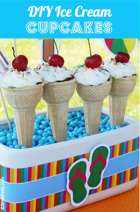 Pool Party Ice Cream Cupcakes Recipe -  BirdsParty.com