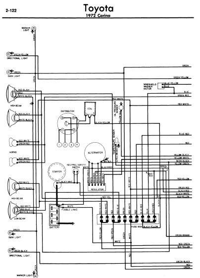 repair-manuals: Toyota Carina 1972 Wiring Diagrams