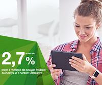 Konto oszczędnościowe 2,7% do 200 000 zł w Getin Banku