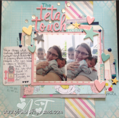 scrapbooking layout glitter girl shimelle laine challenge 125 embellishments stickers elle's studio dear lizzy true stories october afternoon