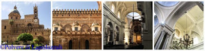 Particolari del duomo di palermo che evidenzia l'esterno arabo-normanno con l'interno neogotico