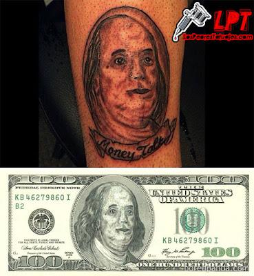 Tatuaje FAIL Benjamin Franklin (Dolar Estadounidense)