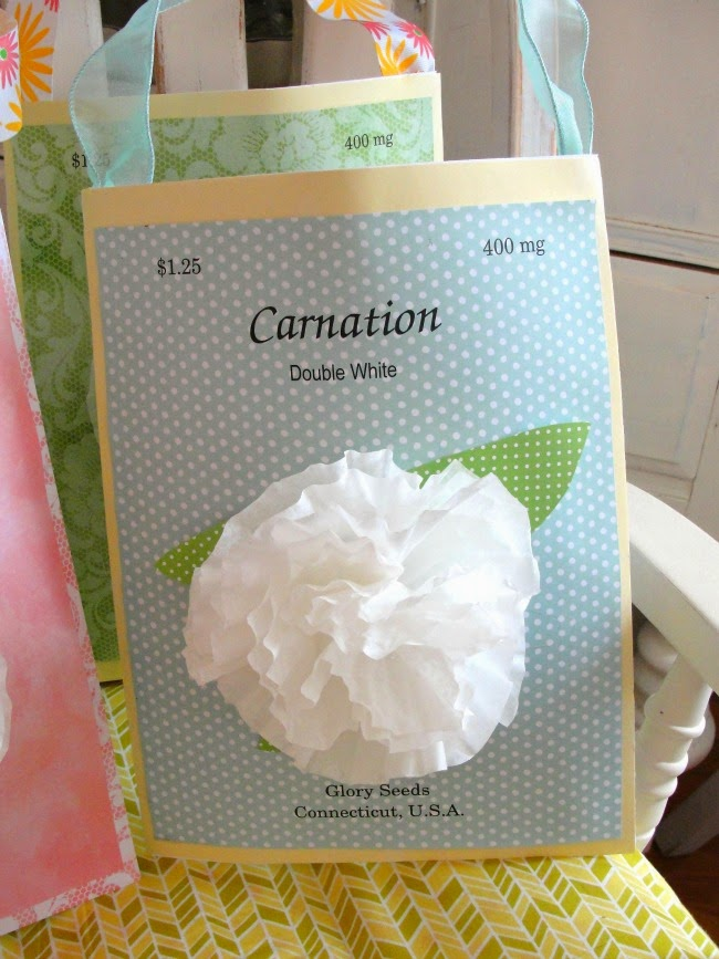 large seed packet envelope embellished with coffee filter flower