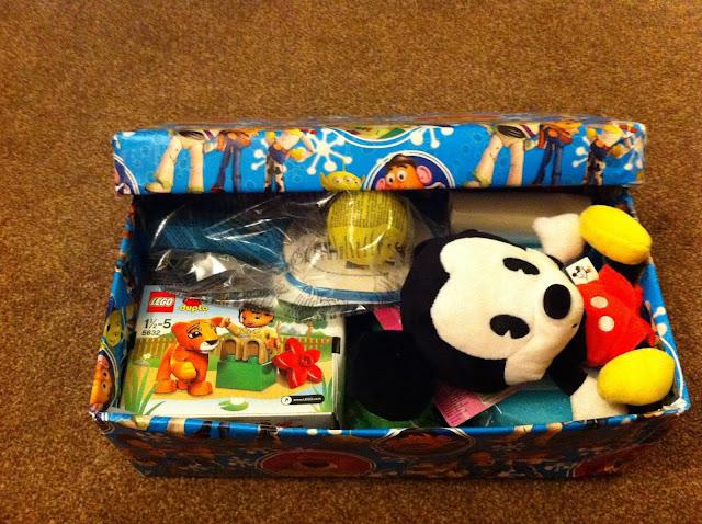 Filled Christmas shoebox gift
