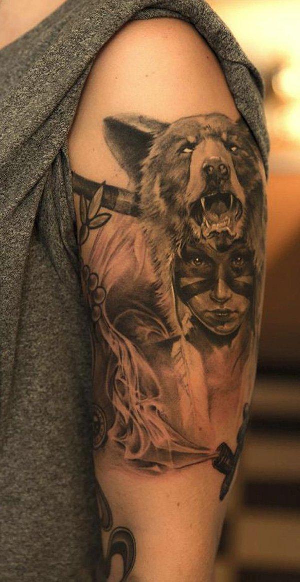 tatuaje de Cabeza de India guerrera