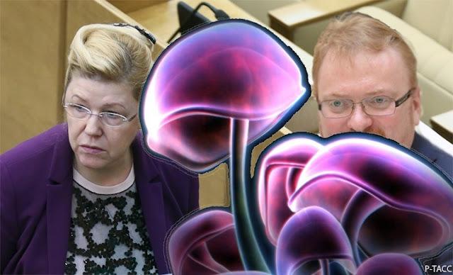Мизулина и Милонов и фиолетовые грибы
