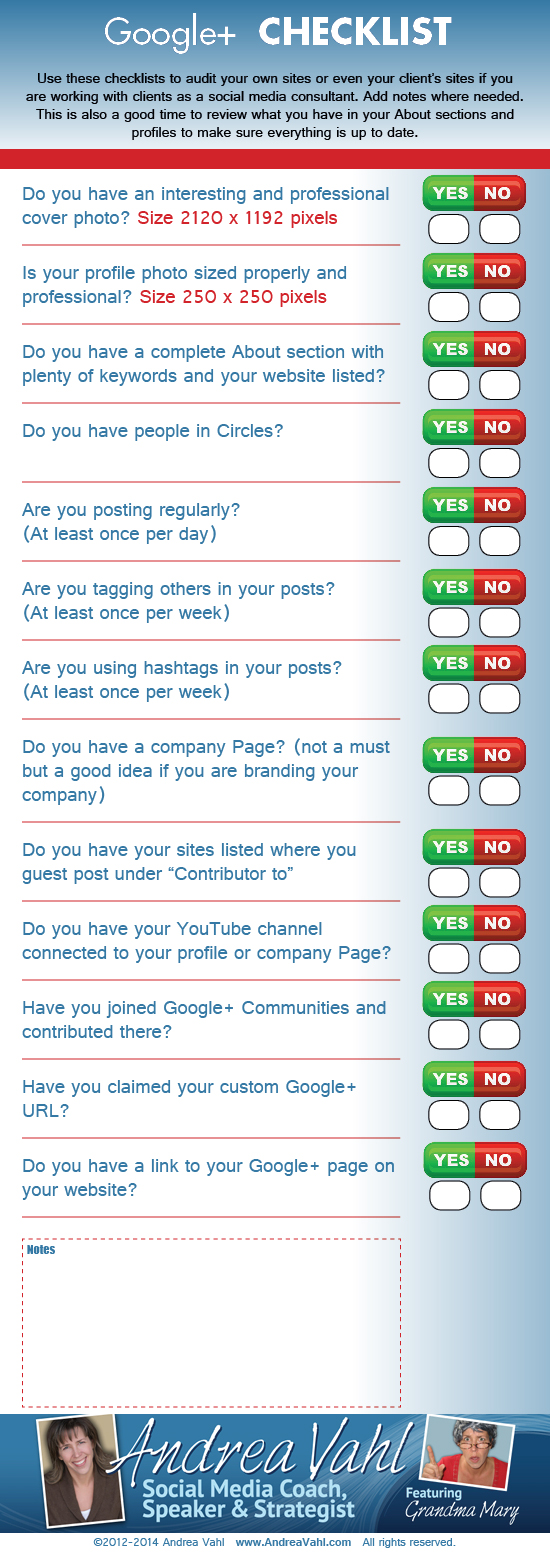 Google+ Checklist for brands