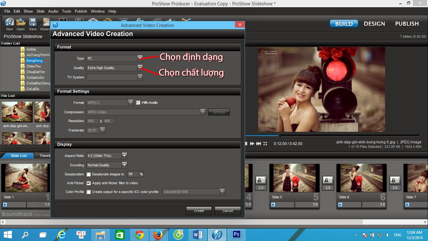 Cách xuất video trong Proshow Producer