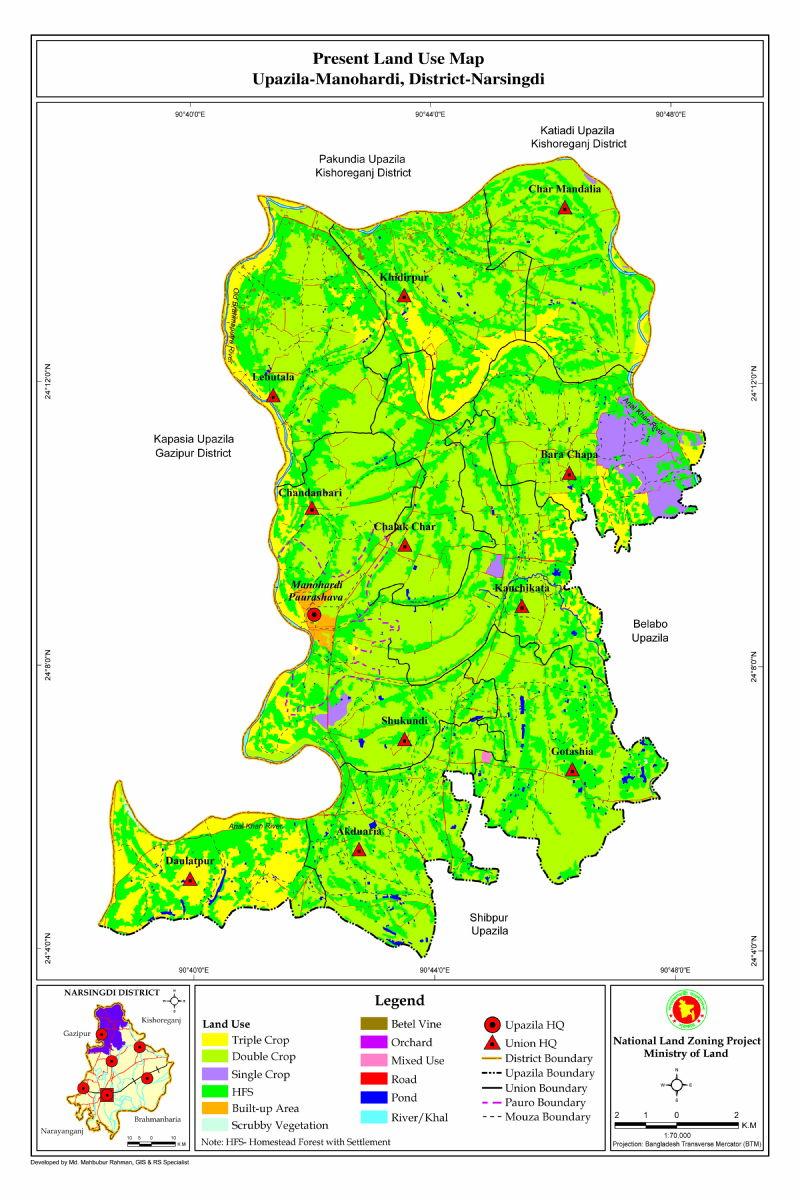 Monohardi Upazila Mouza Map Narsingdi District Bangladesh