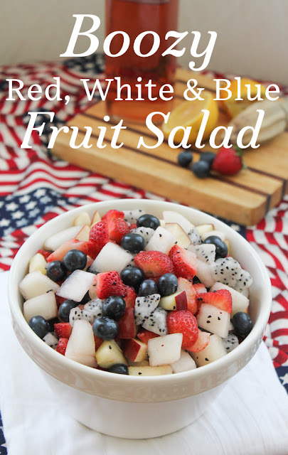 Food Lust People Love: Not so much of a recipe as a way to add flavor and sweetness, the flavored alcohol makes this boozy red white and blue fruit salad a great adult treat at any summer picnic. #SundaySupper