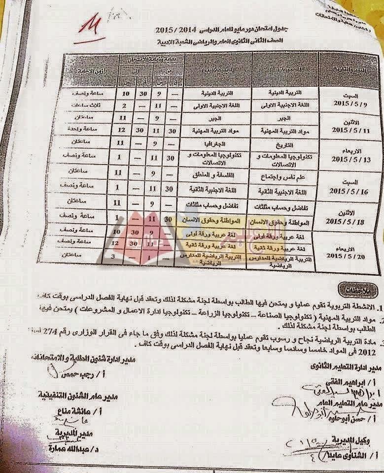 جداول امتحانات محافظة المنوفية أخر العام2015 كل الفرق 117.jpg