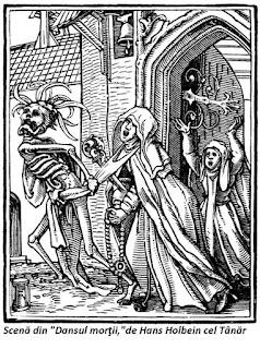 Scena din Dansul Mortii de Hans Holbein cel tanar