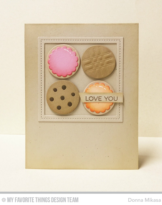 Handmade card from Donna Mikasa featuring Essential Sentiments stamp set, Single Stitch Line Square Frames and Laina Lamb Design You're the Milk to My Cookie Die-namics #mftstamps