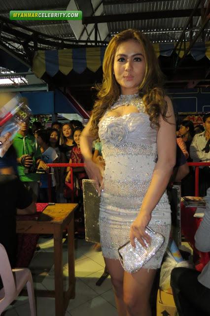 Model Shwe Sin in Beautiful Pearl Mini Dress