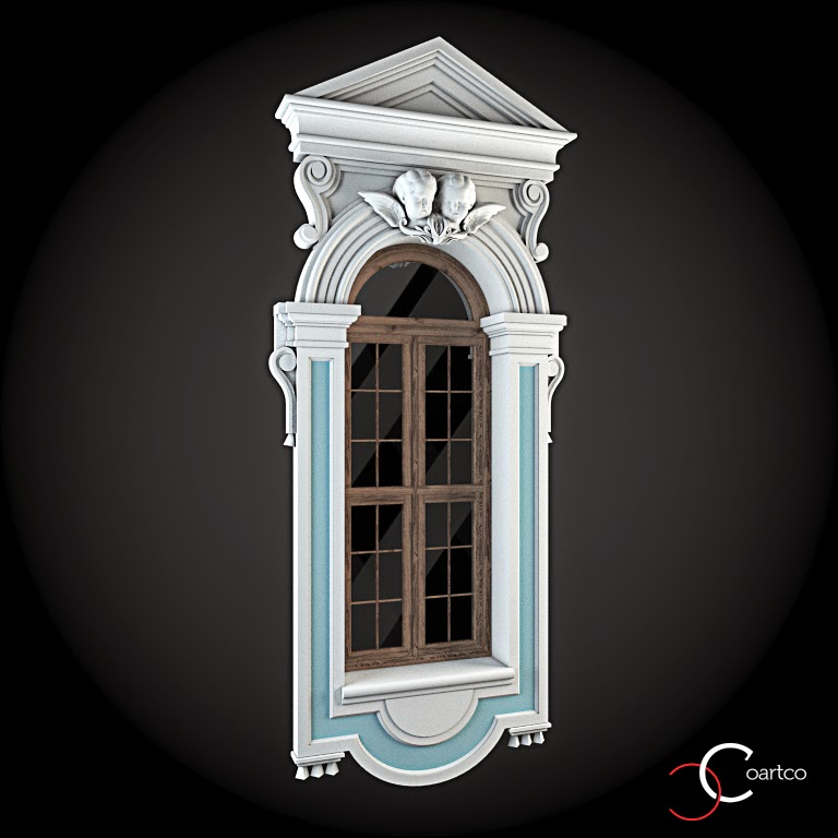 Ornamente Geamuri Exterior, Arcada fatade case cu profile decorative polistiren, profile fatada,  Model Cod: WIN-057