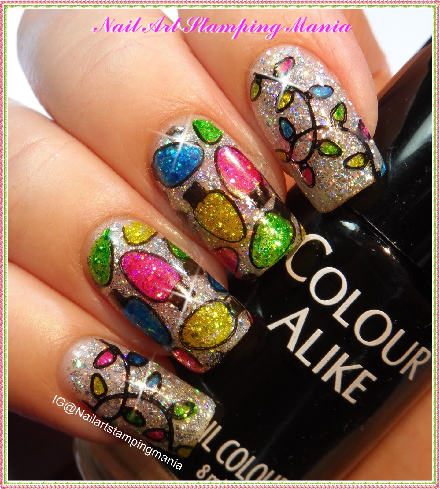 Christmas Lights Nails Pinterest: Nail Art Stamping Mania: Christmas Lights Manicure With