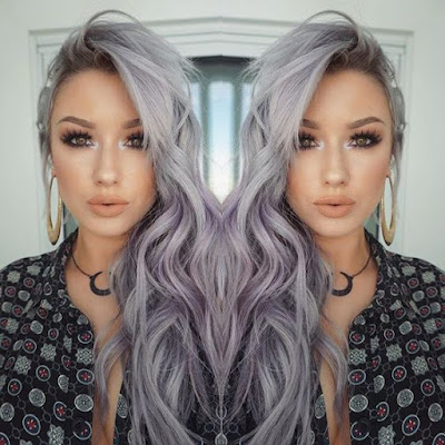 hippy gray hairstyle with lavender undertone