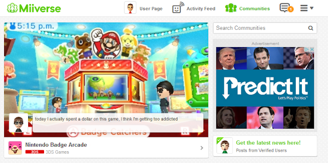 Web Miiverse redesign ads advertisements DoubleClick PredictIt