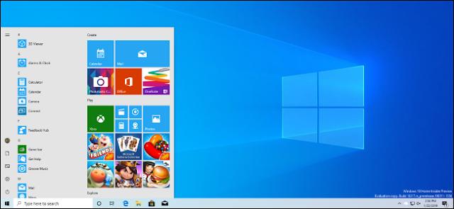 سطح مكتب يعمل بنظام التشغيل Windows 10 يضم سمة الإضاءة الجديدة لتحديث أبريل 2019